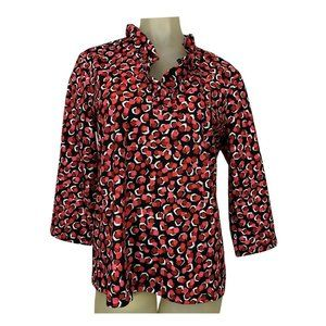 Pappagallo Blouse top Size Large red Gold Knit pat